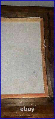 Vintage Black Velvet Painting WHITE BUFFALO Signed Ortiz 15.5 x 19 Wood Frame