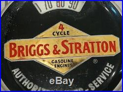 Vintage Briggs & Stratton Thermometer Sign Reverse Painted! Original Sign