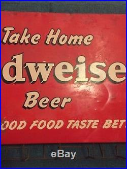 Vintage Budweiser Beer Sign 1930s Painted Tin Litho Antique Store Display Rare
