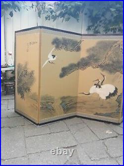 Vintage Byobu Artist Signed Hand Painted 4 Panel Divider Screen 35x17.5 each pnl