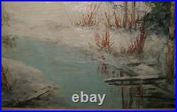 Vintage CHARLES E. D. RODICK'Red Barn in WINTER Landscape' Oil PAINTING Listed