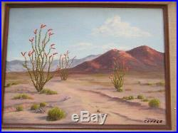 Vintage California Desert Painting Landscape Signed Connor 1960's Oil On Board