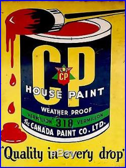 Vintage Canada Paint Dbl. Sided Steel Flange Advertising Sign 2 Different Sides