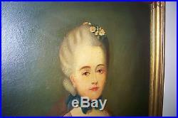 Vintage Canvas Oil Painting French Woman Madame DuBois Signed De LeTour Old
