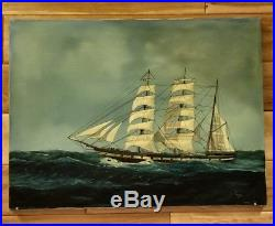 Vintage Captain Lars Original Maritime Oil Painting On Canvas, Signed 1975 D