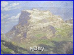 Vintage Carl Rungius SIGNED Oil on Canvas Cabin Mountain Landscape Painting yqz