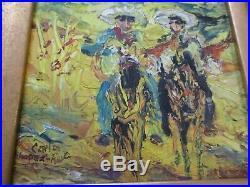 Vintage Carlos Lopez Ruiz Impressionism Painting Landscape Cowboy Expressionism