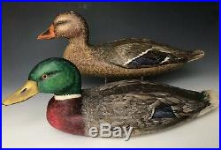 Vintage Carved & Painted 16.5 Mallard Hen & Drake Decoy Pair, Signed Dated 1958