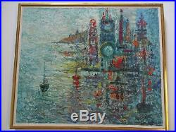 Vintage Charles Melohs Painting Abstract Expressionism Modernism Signed Italy