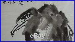 Vintage Chinese After Qi Baishi Ink& Watercolor Paintingeagle On Tree, Signed