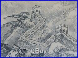 Vintage Chinese Scroll Painting Of The Great Wall Of China In Winter Signed