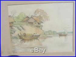 Vintage Chinese Thia Watercolor Painting Signed