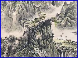 Vintage Chinese Wall Hanging Scroll Hand Painting Landscape Calligraphy, Signed