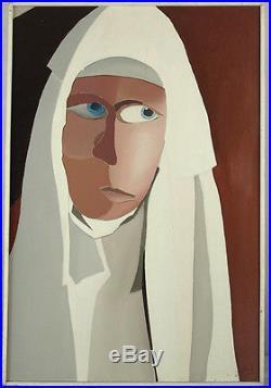 Vintage Circa 1960s Oil/Masonite Nun Female Portrait Painting Illegibly Signed