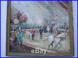 Vintage Circus Painting Signed Mystery Artist Impressionist Acrobat Horses Show