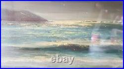 Vintage Coastal Landscape Oil Painting 1968 on Wood Frame 21¨ Long