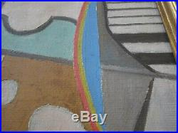 Vintage Constructivism Abstract Cubist Musician Surreal Modernist Painting 1960
