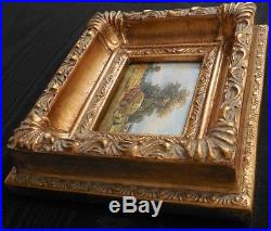 Vintage Country French Farm Scene Miniature Oil Framed and Signed #2