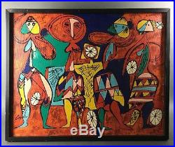 Vintage Coyle Signed Mid Century Modernist Figural Abstract Painting