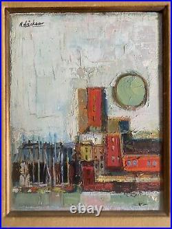 Vintage DAVID ADICKES Original OIL PAINTING 1957 Mid-Century MODERNIST Abstract