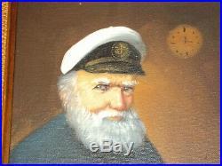 Vintage David Pelbam Painting Sea Captain Oil On Canvas Portrait