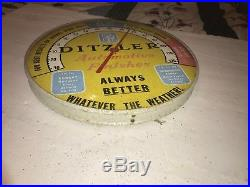 Vintage Ditzler Car Paint Gas Oil 12 Metal Thermometer Service Station Glass