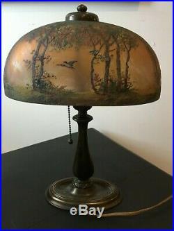 Vintage Double-Signed Handel Birds In Flight Reverse-Painted Boudoir Table Lamp