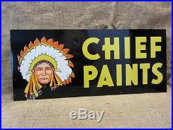 Vintage Doubled Sided Chief Paint Sign Antique Old Metal Store Hardware 8264