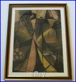 Vintage Drawing Signed Lambert 1966 Cubism Modernism Abstract Expressionist