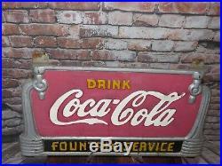 Vintage Drink Coca Cola Fountain Service Cast Iron Bench Sign Original Paint