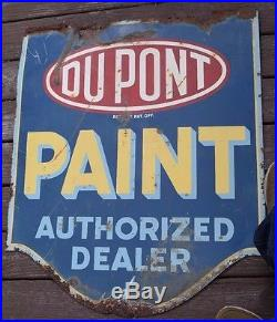 Vintage Dupont Paint Two Sided Metal Sign Barn Find 30 X 36 Jeff Gordon Fans