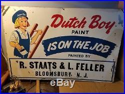 Vintage Dutch Boy Paint Sign Tin