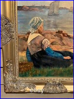 Vintage Dutch oil painting on canvas, Seascape, Harbor view, Signed, Framed
