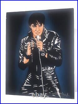 Vintage ELVIS PRESLEY Singing BLACK VELVET PAINTING