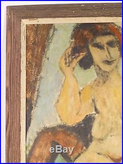 Vintage EXPRESSIONIST NUDE OIL PAINTING MID CENTURY MODERNIST NY Signed 1954