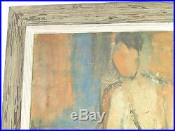Vintage EXPRESSIONIST NUDE OIL PAINTING MID CENTURY MODERNIST Signed 1954 NY