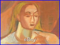 Vintage EXPRESSIONIST NUDE OIL PAINTING MID CENTURY MODERN Signed Listed Adler