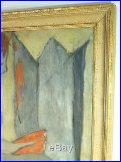 Vintage EXPRESSIONIST OIL PAINTING MID CENTURY MODERNIST Signed 1952 New York