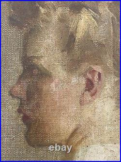 Vintage Early 20th C Portrait Painting of Beautiful Young Woman Girl in Profile