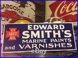 Vintage Edward Smiths Marine Paint and Varnish Porcelain Sign Antique