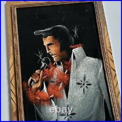 Vintage Elvis Presley Black Velvet Painting Garlin Singing THE KING