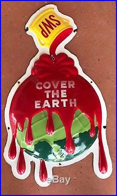 Vintage Embossed Sherwin Williams Paint Porcelain Sign Cover The Earth