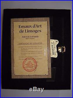 Vintage Enamel over Convex Copper signed by Master P. Rathonie, Limoges, France