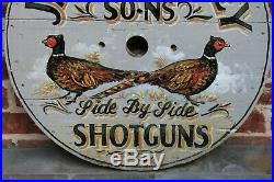 Vintage English Painted Wooden James Purdey Shotguns Pheasants Lodge Pub Sign