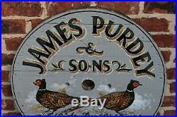 Vintage English Painted Wooden James Purdey Shotguns Pheasants Lodge Pub Sign