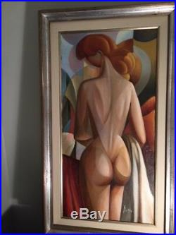 Vintage European abstract cubist oil painting by Diego Voci 1920-1985 Italian