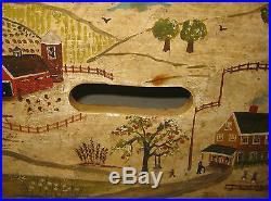 Vintage Eveline Roberge Listed Newport Rhode Island View Folk Art Painting Stool