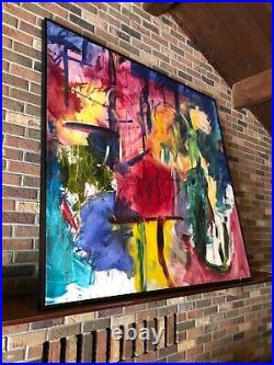 Vintage Extra Large Oil on Canvas Framed Abstract Painting Local Artist Michigan