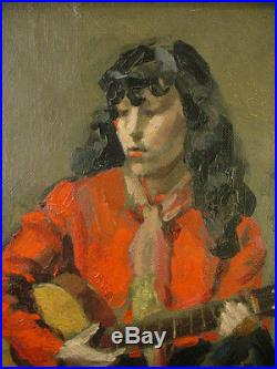 Vintage FRENCH GIRL with GUITAR Original OIL PAINTING Signed L. O'TOOLE Paris'51