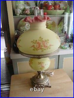 Vintage Fenton Burmese Gone With The Wind Lamp Uranium Glass Hand Painted Roses